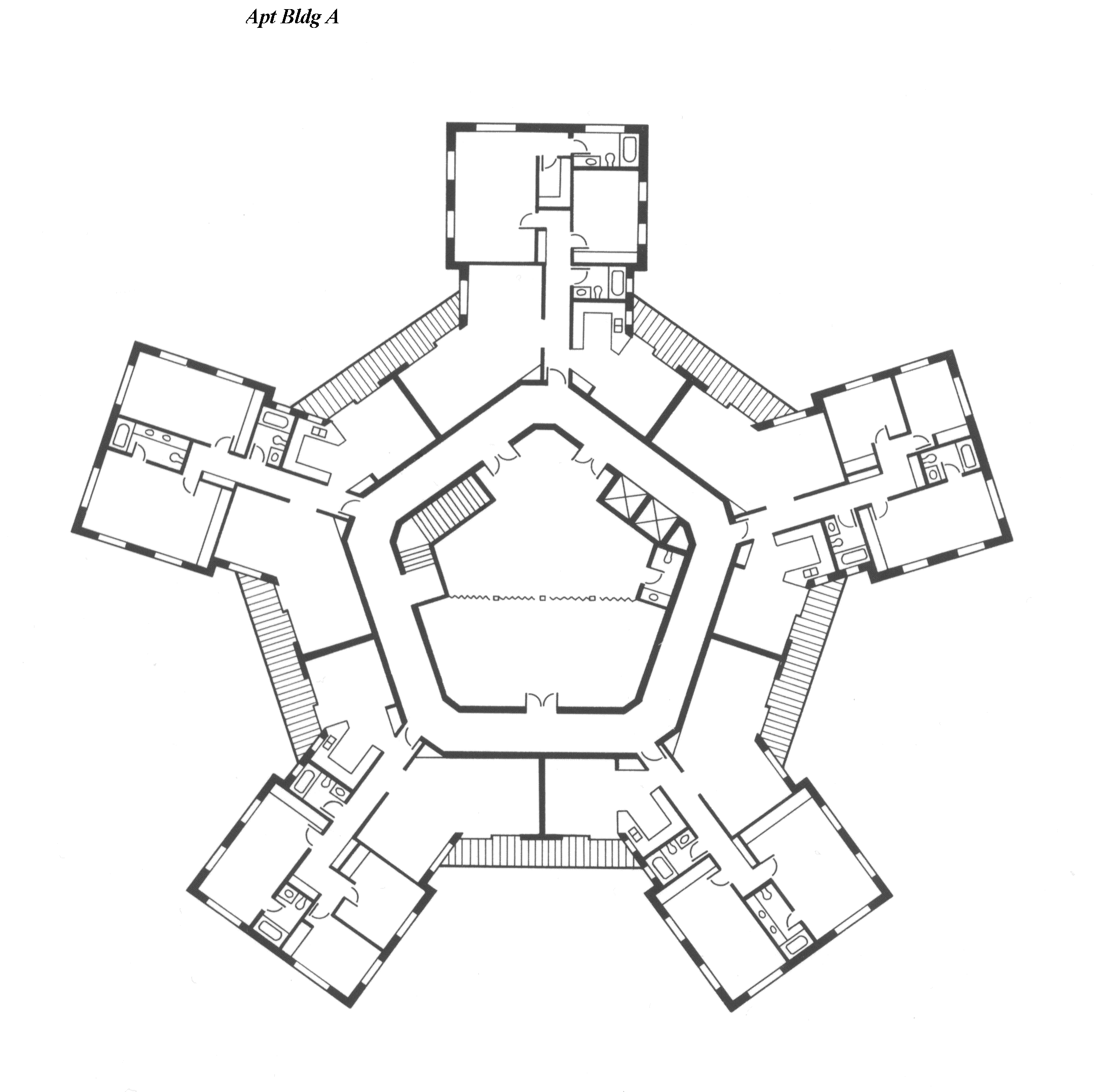 Drawings of various microcommunity mc configurations for Apartment complex building plans